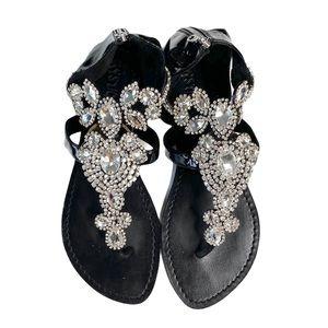 Mystique ❤︎ Jeweled Crystal Sandals ❤︎ Blk Patent